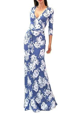 70b2ca6389a VIVICASTLE Women s Printed V-neck 3 4 Sleeve Wrap Waist Tie Long Maxi Dress