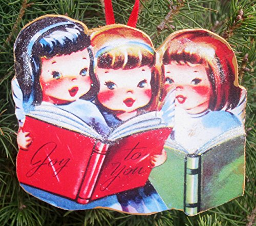 Singing Angel Trio Handcrafted Wooden Christmas Ornament, Mid-Century Modern 1950s Cards, Personalized Friends Sisters Angel Wings Choir Ask a - Angel Trio