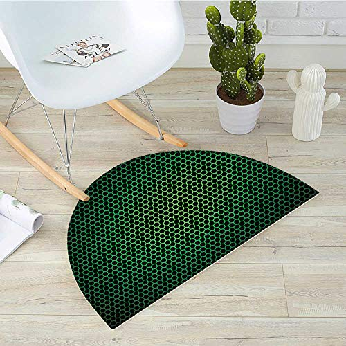 (Forest Green Semicircle Doormat Geometrical Honeycomb Pattern with Polygons Technology Themed Grid Mesh Tile Halfmoon doormats H 51.1