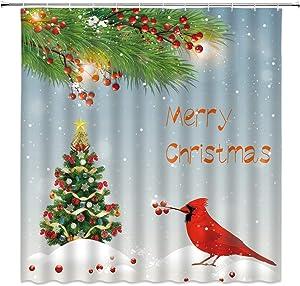 Merry Christmas Shower Curtain Cardinals Bird Colorful Xmas Tree Ball Pine Branch Berry Falling Snowy Winter Festival Romance Holiday Scene Bathroom Decor Curtain 12 Hooks, 71X71IN