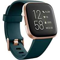 Fitbit Versa 2 (NFC), Health & Fitness Smartwatch with Heart Rate, Music, Sleep & Swim Tracking, One Size (S & L Bands Included) (Emerald/Copper Rose)