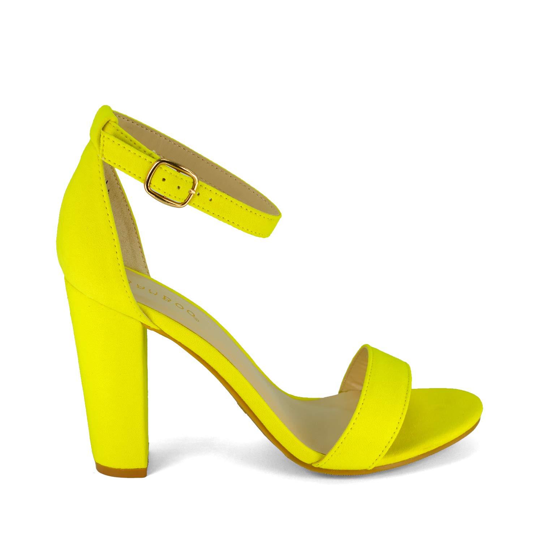 916165682d3 Amazon.com | BAMBOO Women's Single Band Chunky Heel Sandal with ...