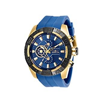 25996 - INVICTA Pro Diver Men 50mm Stainless Steel Gold Navy Blue dial VD55 Quartz Watch