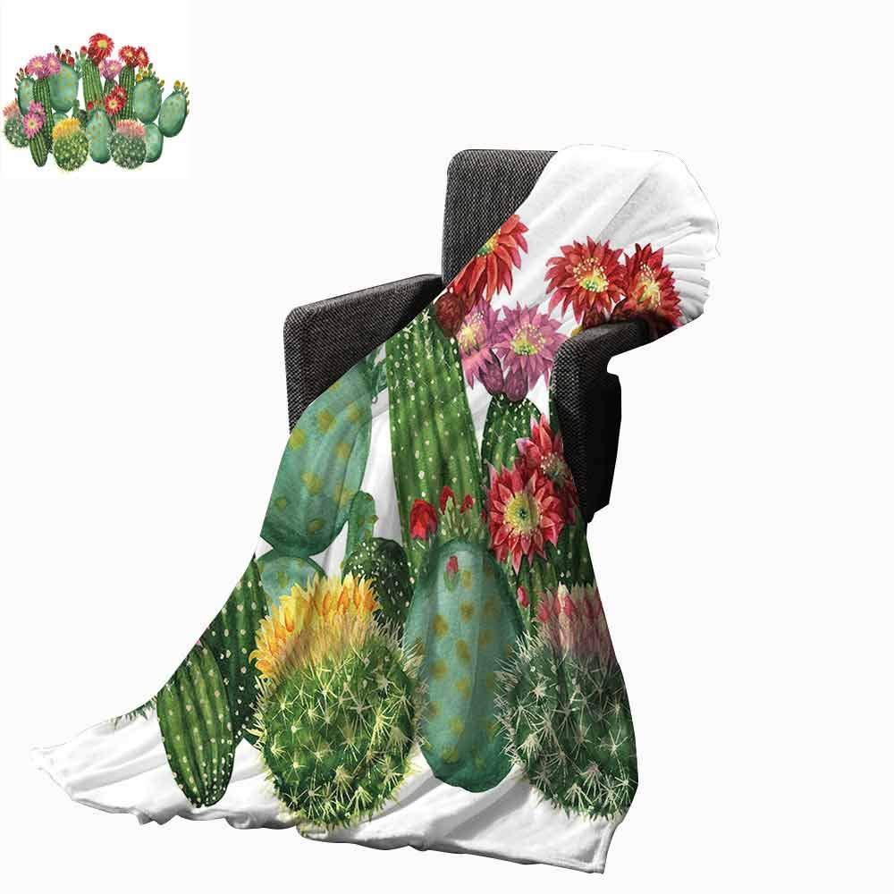 Cactus Decor Swaddle Blanket,Saguaro Barrel Hedge Hog Prickly Pear Opuntia Tropical Botany Garden Plants Lightweight Extra Soft Skin Fabric Not Allergic (62''x60'')-Multicolor