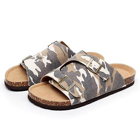 71051f67de9a Slippers HAIZHEN Women shoes Men Cool Male Summer Canvas Cork Denim Big  Size Beach Shoes With 3 Colors for Women (Color    2