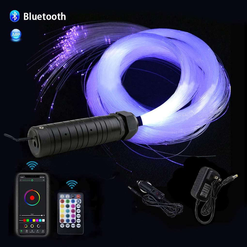 AZIMOM 6W Bluetooth Music Control RGB LED Fiber Optic Lights Star Ceiling Light Kit RF 28 Key Remote APP Sensor Light Source 550pcs 0.75mm 13.1ft Fiber Strands for Indoor Car Home Interior Decoration