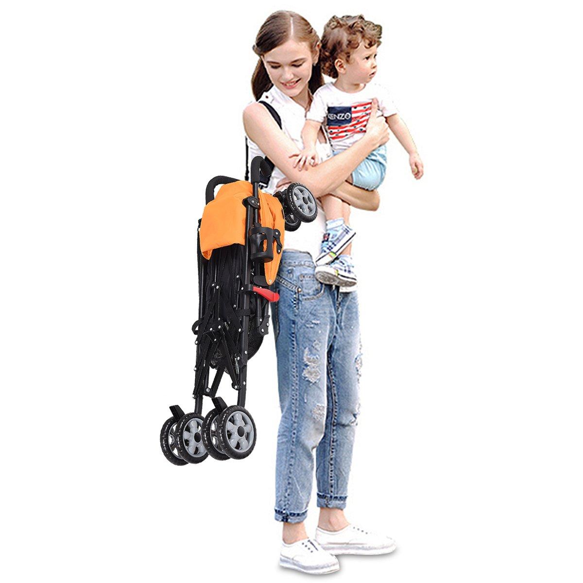 INFANS Lightweight Baby Umbrella Stroller, Foldable Infant Travel Stroller with 4 Position Recline, Adjustable Backrest, Cup Holder, Storage Basket, UV Protection Canopy, Carry Belt (Orange) by INFANS (Image #5)