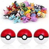 qwaszx sqzkzc-Set de 3 bolas Poké rouges et 48 mini figuras Pokémon aléatoires - set cadeau pour fans de Pokémon…
