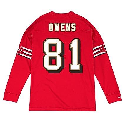 b3778b5de Terrell Owens San Francisco 49Ers NFL Mitchell   Ness Red 1996 Jersey  Inspired Longsleeve Knit Shirt