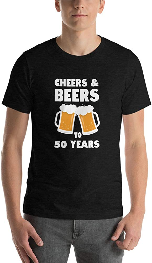 Short-Sleeve Unise Cheers and Beers to 50 Years Retire Funny Gift ld Shirt