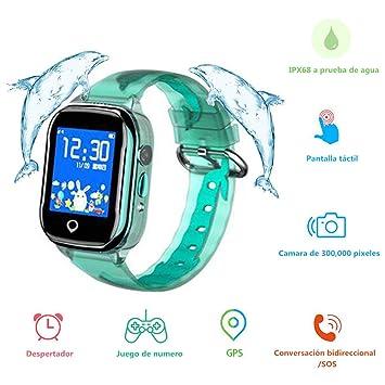 MUSSON Reloj Inteligente Niños, SmartWatch Infantil IPX68 Impermeable GPS Rastreador SIM Phone 1.44 Inch LCD Pantalla Táctil Móvil, Llamada SOS Cámara ...