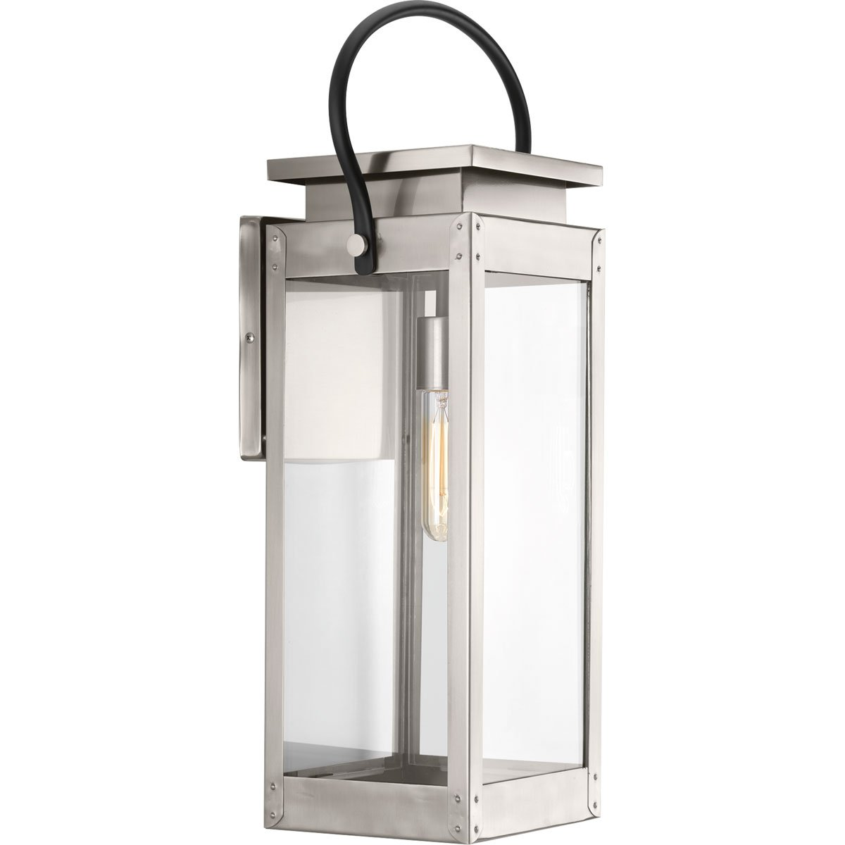 Progress Lighting P560006-135 Union Square One-Light Large Wall Lantern, Stainless Steel