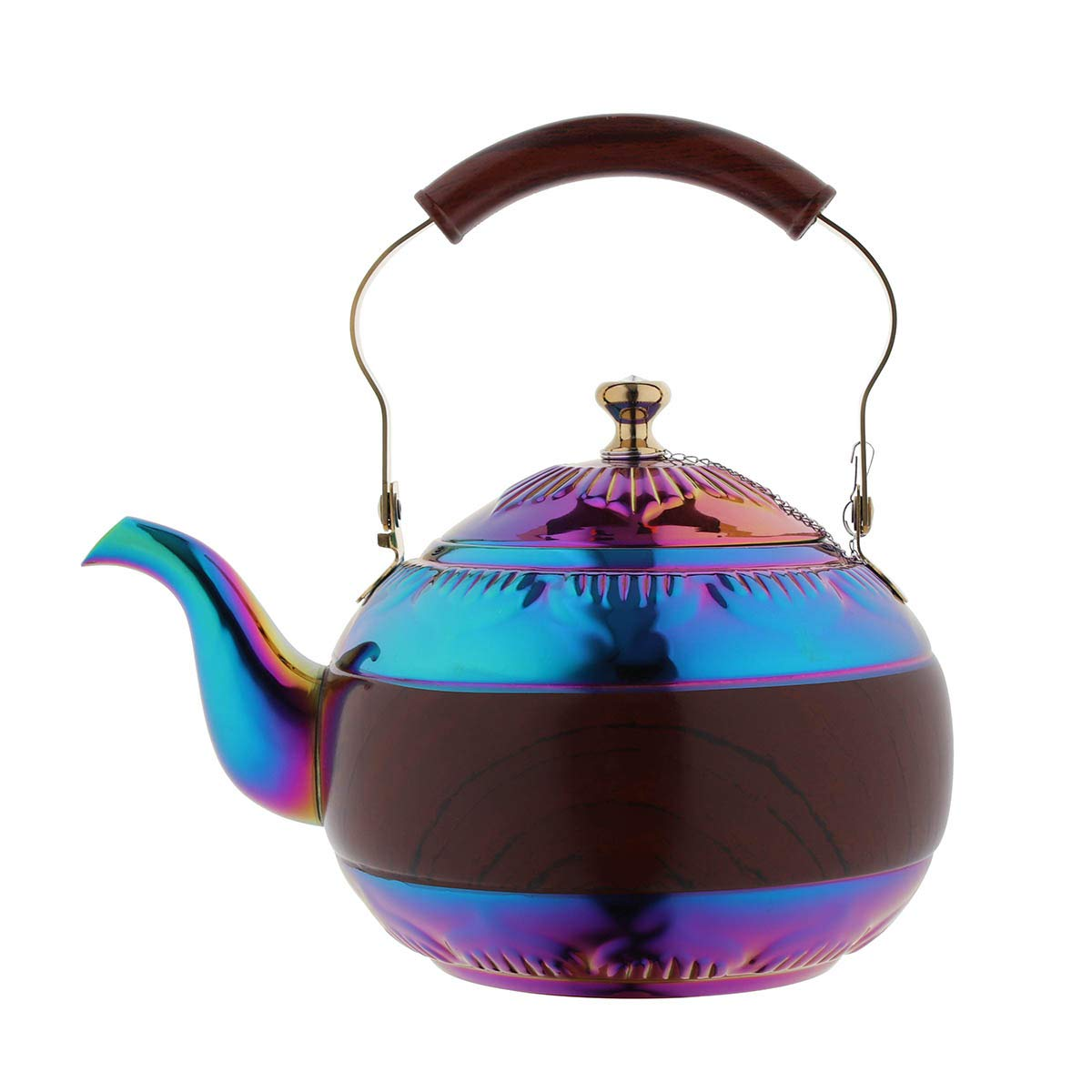 OMGard Tea Kettle with Infuser Loose Leaf Rainbow Teapot 2 Liter Tea Coffee Pot Stainless Steel Strainer Colorful Teakettle for Stovetop Induction Stove Top Boiling Water Camping 2 Quart / 68 Ounce 16-teapot