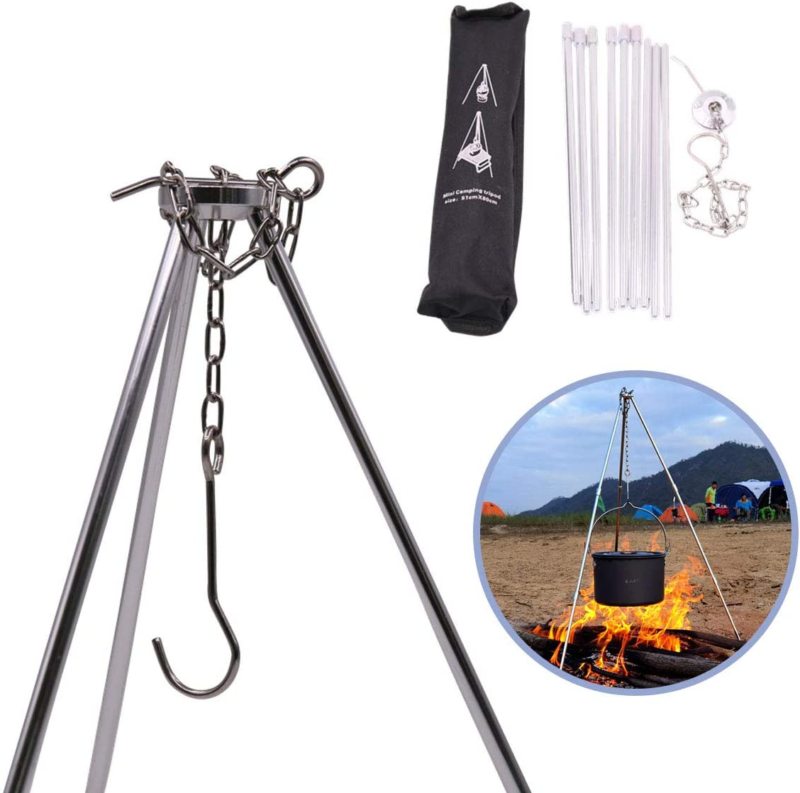 Rayeeley Portable Mini Camping Tripod Campfire Cooking Dutch Oven Tripod Adjustable Tripod Cooker Campfire Grill Stand Tripod Set Cooking Lantern Hanging Pot Holder with Storage Bag