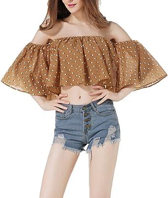 Crop Tops Mujer Camisas Tumblr Shirt Shirts Blusa De Basic Ropa Carmen Elegantes Verano Niña Sin Tirantes Lunares Manga Corta Casuales Moda Joven Ropa: Amazon.es: Ropa y accesorios