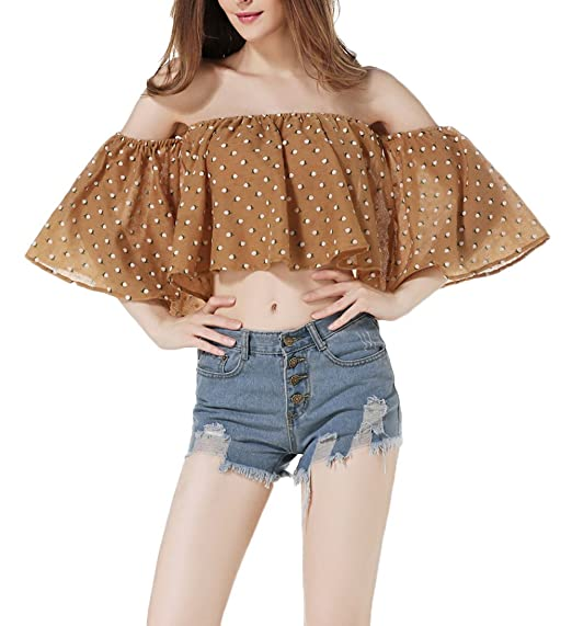 Crop Tops Mujer Camisas Tumblr Shirt Shirts Blusa De Carmen Elegantes Verano Niña Joven Bastante Sin Tirantes Lunares Manga Corta Casuales Moda Joven Women: ...