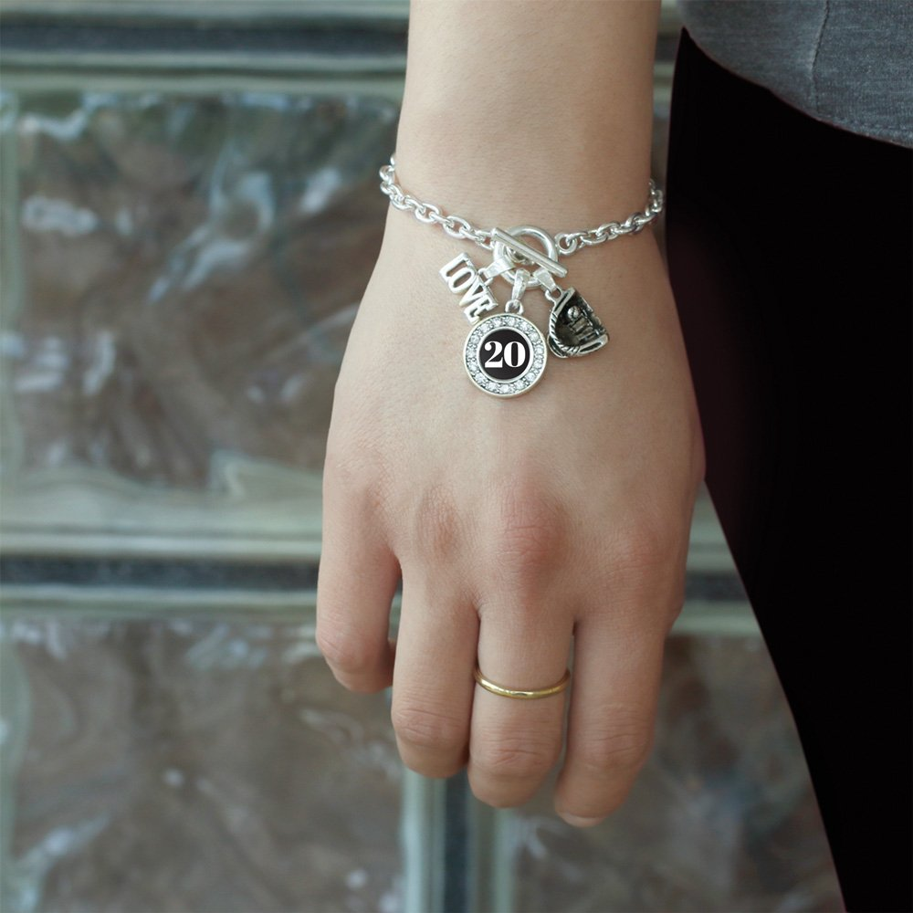 Inspired Silver My Sports Number Circle Charm Baseball Glove Toggle Charm Bracelet Number 20