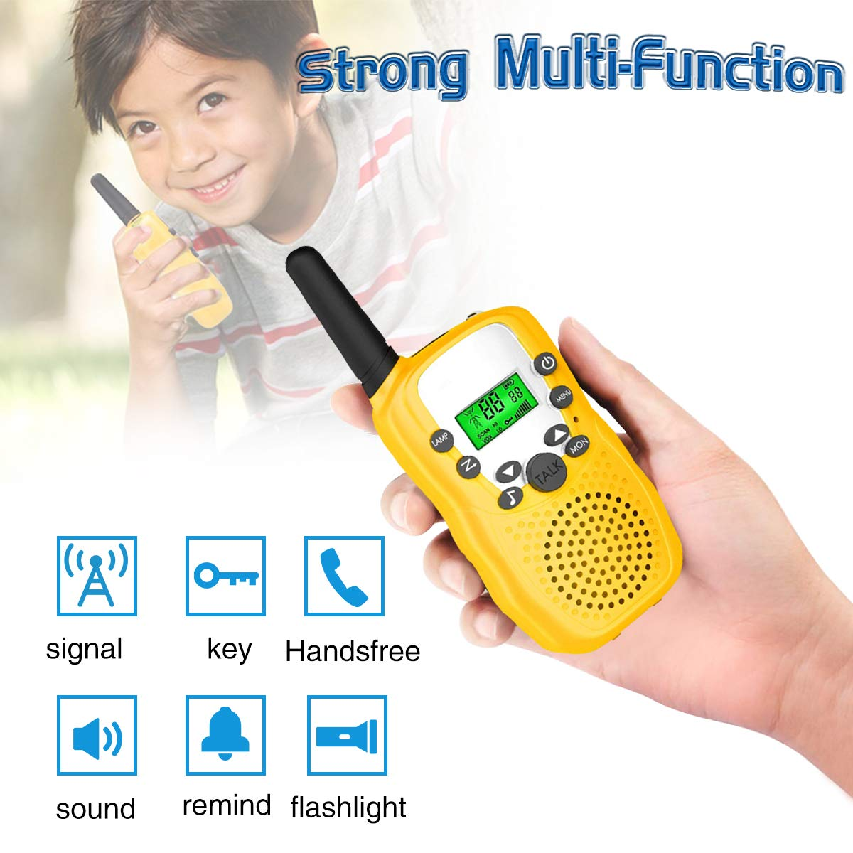Outdoor Toys for 5-10 Year Old Boys Girls Pussan Kids Walkie Talkies 3 Pack Long Range 2 Miles 22 Channels Kids Camping Outside Summer Games Walky Talky for Children Gifts by Pussan (Image #4)