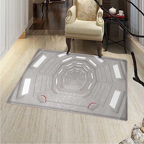 Outer Space Floor Mat Pattern Galactic Travel Atmospheric Plasma Cosmonaut Transportation Interior Design Living Dinning Room & Bedroom Rugs 5'x6' Warm Taupe