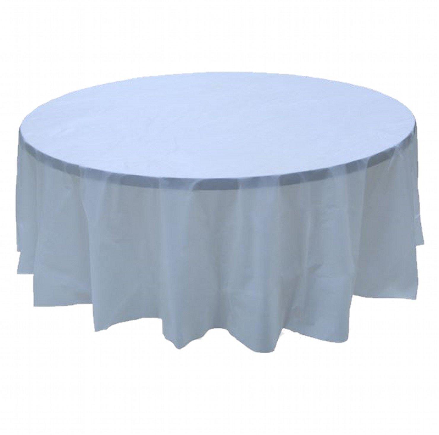 24 pcs (1 case) of Plastic Heavy Duty Premium Round tablecloths 84'' Diameter Table Cover - Light Blue by CC