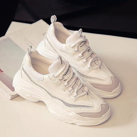 LVZAIXI Zapatos Zapatillas deportivas Versión coreana Zapatillas blancas para estudiantes Zapatos de mujer acogedor (Color