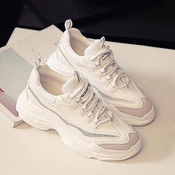 Shoes LVZAIXI Zapatos Zapatillas Deportivas Versión Coreana Zapatillas Blancas para Estudiantes Zapatos de Mujer Acogedor (Color : Blanco, ...