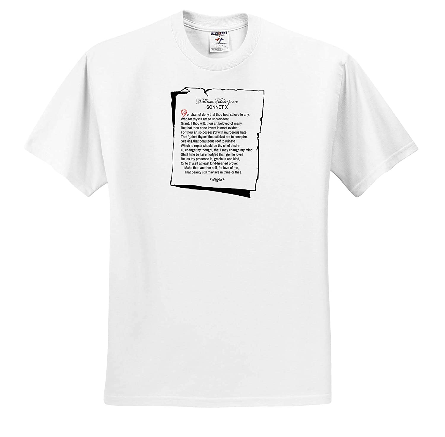 3dRose Alexis Design Poetry Shakespeare Sonnets Sonnet 10 T-Shirts for Shame Deny That Thou bearst Love to Any