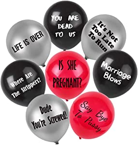 BroSash Funny Bachelor Party Balloons   Pack of 16   Bachelor Party Decor Bachelorette Party Supplies and Decorations   Naughty Gag Gifts Gift Cruel Abusive Balloon for Groom to Be Dirty Favors