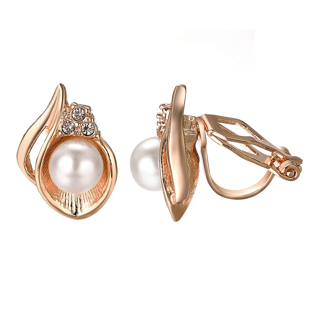 VOGEM Pearl Earrings Clip On 18K Rose Gold Plated Simple Non Pierced Earrings For Women Girls B07BVK81HX_US
