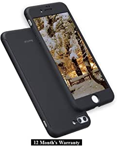 iPhone 7 Plus Case/iPhone 8 Plus Case, AnsTOP Thin Exact-Fit 360 Full Body Case Coverage Protective Dual Layer iPhone Hard Case with Tempered Glass Screen Protector for iPhone 7 Plus, 8 Plus(Black)