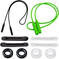 Elastic Soft Silicone Anti - Slip Eyeglasses Strap, Glasses Temple Tips Sleeves Retainer, Eyewear Lanyard Sports Eyeglass Retainers for Sunglasses, Reading Glasses, Green,Black and Transparent