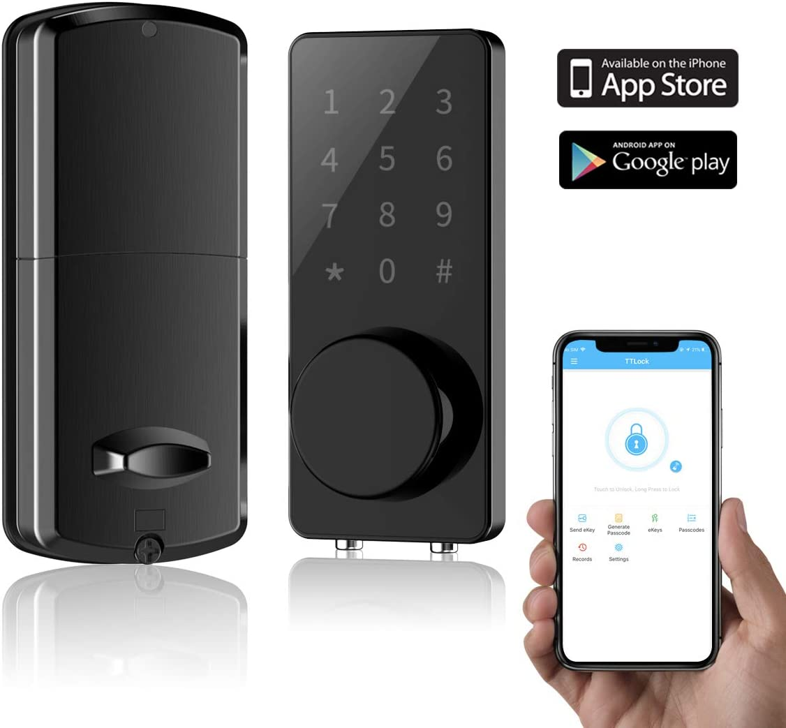 Smart Lock Front Door, Keyless Entry Door Lock Deadbolt, Digital Electronic Bluetooth Door Lock with Keypad Auto Lock for Home Hotel Apartment Office Black
