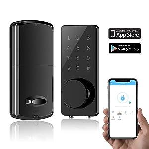 Smart Lock Front Door, Keyless Entry Door Lock Deadbolt, Digi0tal Electronic Bluetooth Door Lock with Keypad Auto Lock for Home Hotel Apartment Office