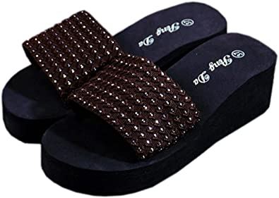516e07f4a Image Unavailable. Image not available for. Color  Bettyhome Women Lady  Summer Sexy 2.16 Inch Dots Comfortable Thongs Casual Wedges Sandals Beach  Flip Flops
