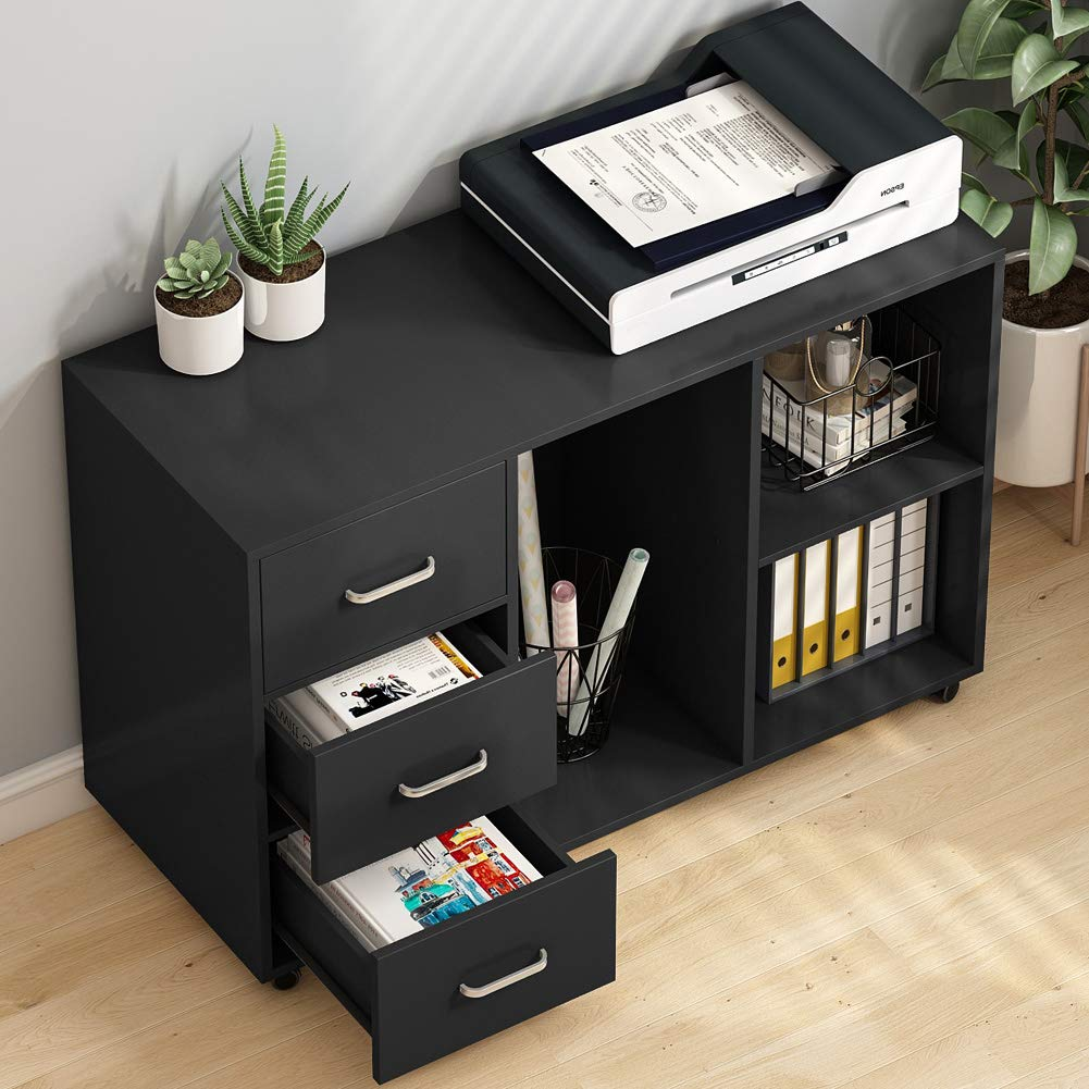 Tribesigns 3 Drawer Wood File Cabinets, Large Modern Lateral Mobile Filing Cabinets Printer Stand with Wheels, Open Storage Shelves for Home Office Study Bedroom (Black) by TRIBESIGNS WAY TO ORIGIN (Image #3)