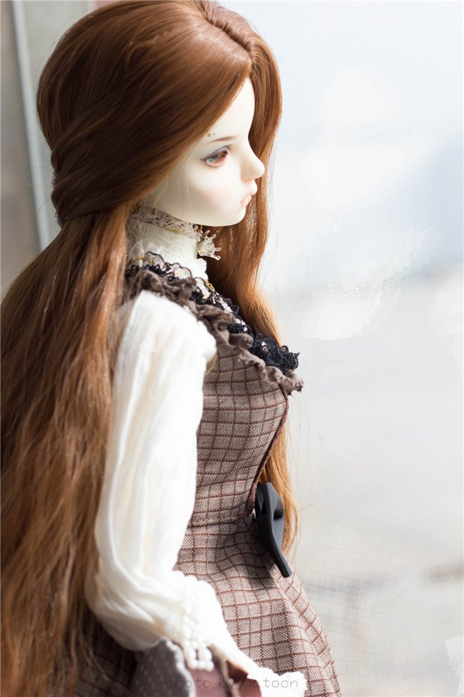 Tita-Doremi BJD Poupée Perruque Ball-jointed Doll 1/3 8-9 Inch 22-24cm Dollfie Pullip SD DOD DD Brown doll Toy Head Perruque Cheveux (Perruque Seulement,pas une poupée ) pas une poupée ) LanTing