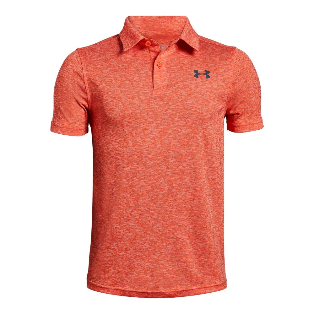 Under Armour Tour Tips Polo, Papaya Light Heather//Pitch Gray, Youth X-Small by Under Armour