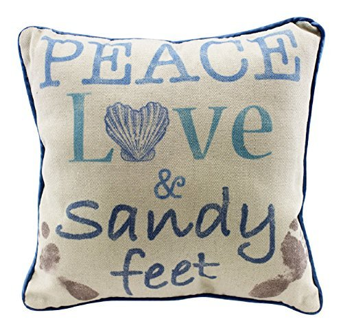 Beachcombers Coastal Life Peace Love and Sandy Feet Natural Decorative Beach 12 Inch Throw Pillow