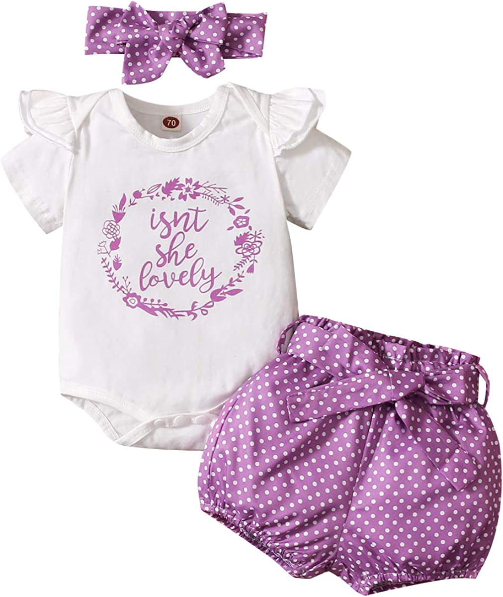Isn't She Lovely Newborn Baby Girls Coming Home Outfit Ruffle Romper Shorts Pants Headband 3PCS Summer Clothes Set