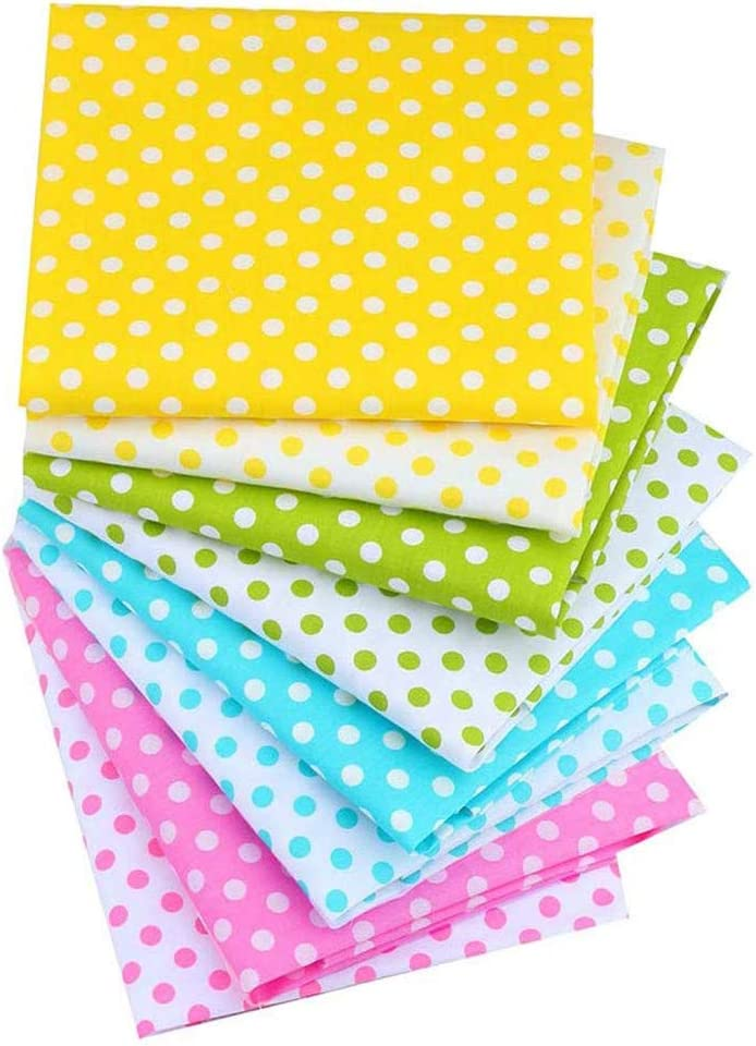 LIKESIDE 8Pcs DIY Hand Stitched Skin-Friendly Childrens Cotton Dot Printed Small Floral Red Handkerchief Baby Quilt Covers