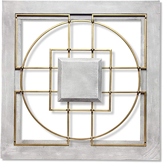 Infinity Instruments Matrix Hanging Wall Decor | 24 inch Square Decor | Grey Gold | Wood Frame Metal Components | Metal Wall Panel | Living Room Bedroom Kitchen Dining Room Modern Square Wall Decor