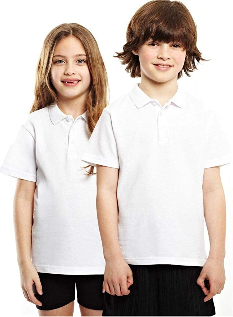 Listers Schoolwear Age 3-16 White 100/% Cotton School Plain Polo Shirt Short Sleeve Childrens Boys Girls P.E.