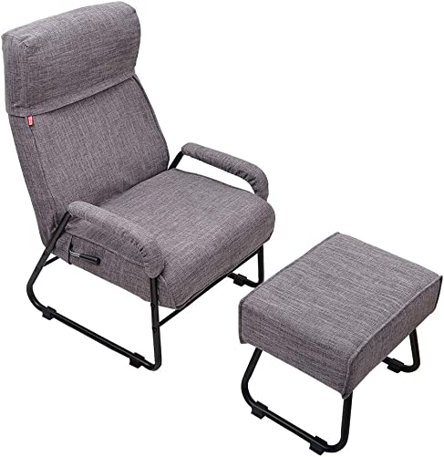 Sundale Outdoor Adjustable Modern Single Recliner, Lazy Sofa Chair with Ottoman, Thick Padded Lounge Armchair Set, Adjustable Backrest, Living Room, Bedroom Furniture for Children, Teens Gray