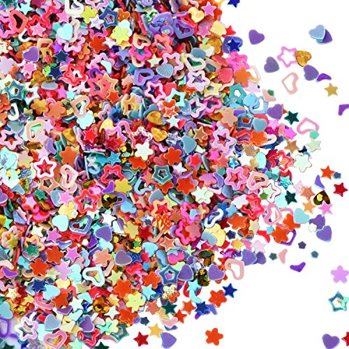 eBoot 100 Grams Multi-shaped Glitter Confetti Colorful Sequins for DIY Crafts, Nail Art and Decoration, Mix - Glitter Star Shaped