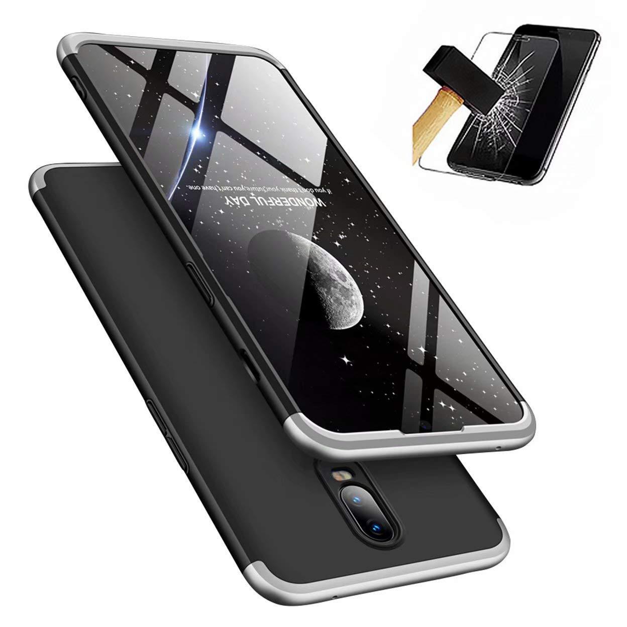 OnePlus 6Tケース、[スクリーンプロテクター] OnePlus 6T用超薄型バンパー付き1保護シェル付きLaixin 360°フルカバーPC 3(シルバー&ブラック)   B07L5Q6T5H