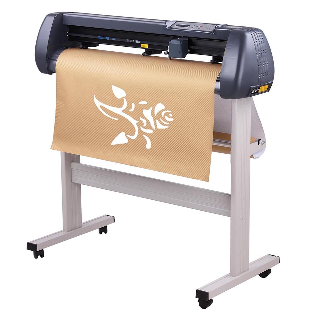 34'' Vinyl Cutter Cutting Plotter Machine Three Adjustable Pinch-Rollers Backlight LCD Display Ball-Bearing Dual Roller Media System US Delivery by ZeHuoGe
