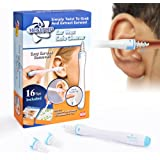 MEXITOP Ear Wax Cleaner, 16 New-Designed Replacement Tips, Ear Pick Spiral Improves the Effect of Ear Wax Removal Drop + Bonus Noise Canceling Ear Plugs, Blue (Upgraded Version)