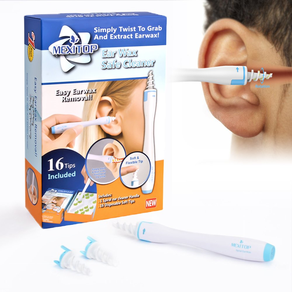 Ear Wax Cleaner - MEXITOP 16 New-Designed Replacement Tips, Ear Pick Spiral Improves the Effect of Ear Wax Removal Drop + Bonus Noise Canceling Ear Plugs, Blue (Upgraded Version)