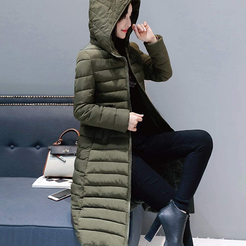 Goodtrade81 Women Winter Warm Thick Outerwear Hooded Coat Slim Cotton-Padded Jacket