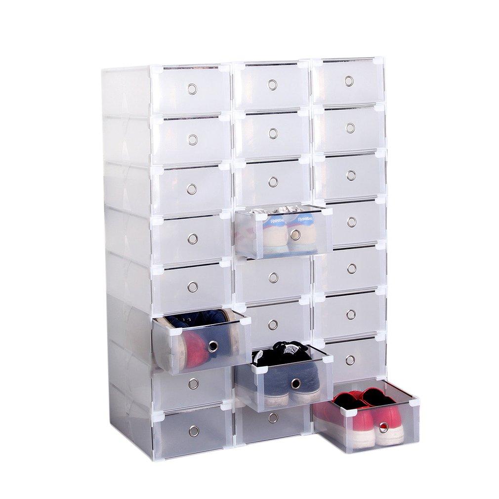Pack de 24 cajas transparentes para zapatos, juguetes o ropa. Opción de packs mas pequeños.